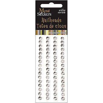 Metal Stickers Nailheads 5Mm Round 64 Pkg Silver 38Ms5mm 3859