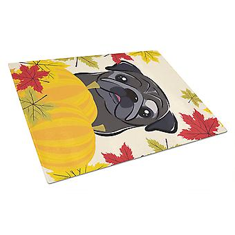 Black Pug Thanksgiving Glass Cutting Board Large BB2069LCB