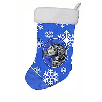 Flat Coated Retriever Winter Snowflakes Snowflakes Holiday  Christmas Stocking