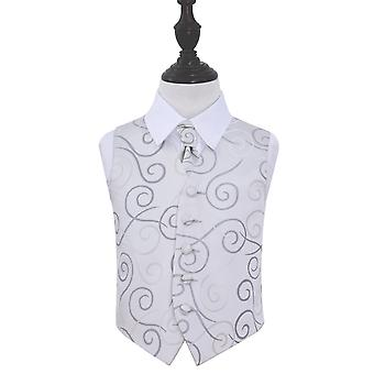 Boy's Silver Scroll Patterned Wedding Waistcoat & Cravat Set