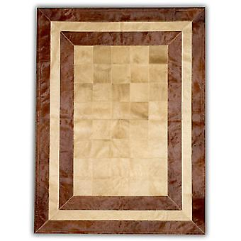 Rugs -Patchwork Leather Cubed Cowhide - SR2 Beige & Brown