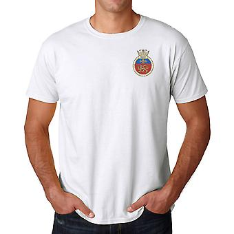 HMS Mersey Embroidered logo - Official Royal Navy Ringspun Cotton T Shirt