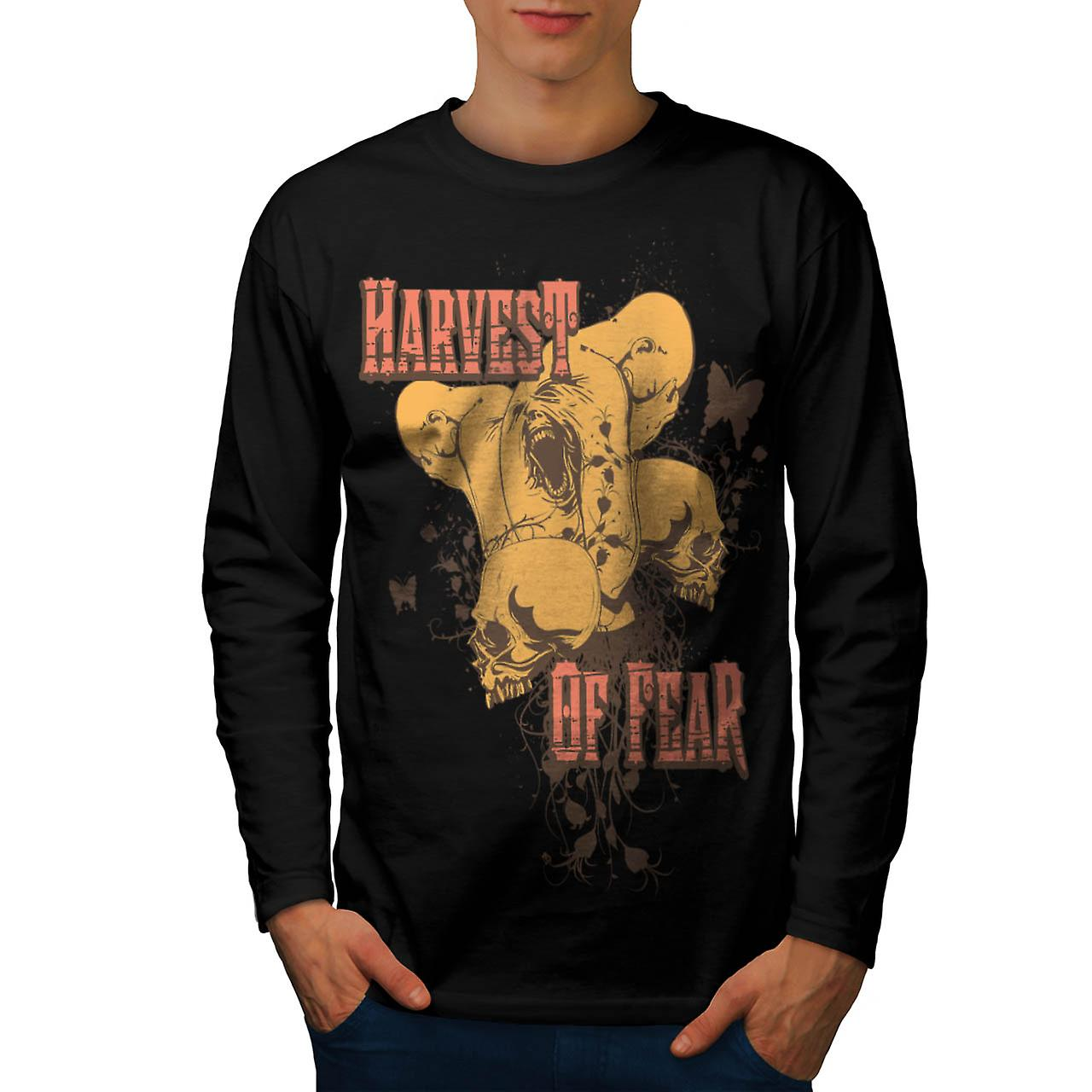 Harvest Of Fear Face Horror Fly Men Black Long Sleeve T-shirt | Wellcoda