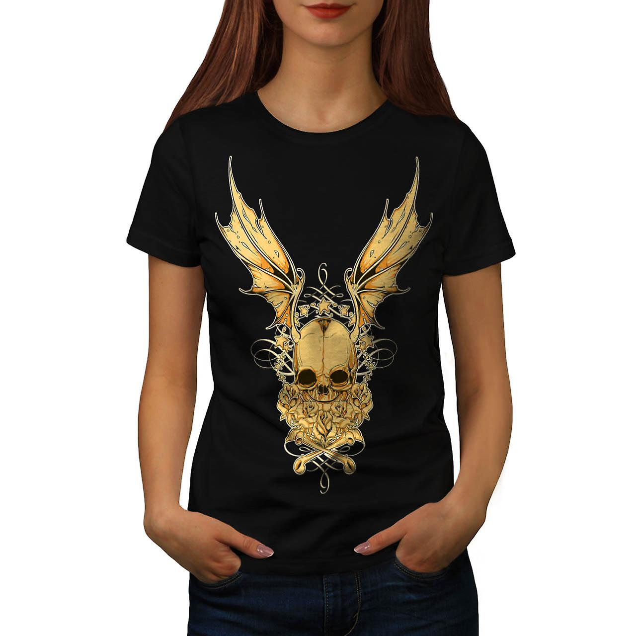 Rose Metal Devil Skull Devil Wing Women Black T-shirt | Wellcoda