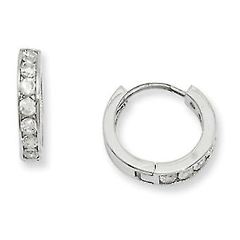 Rhodium-plated Channel Set CZ Earrings