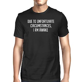 Unfortunate Circumstances Men's Black Shirts Funny Typographic Tee