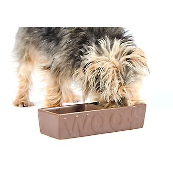 Ceramic Woof Dish Twin Matt Chocolate 25cm