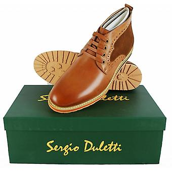 Sergio Duletti Orlando Mens Real Leather Brogue Ankle Lace Up Boots H1212 Tan UK 6 = EU 40