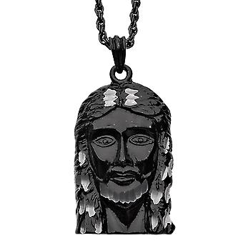 Iced Out Bling DIAMOND CUT pendant - black JESUS FACE