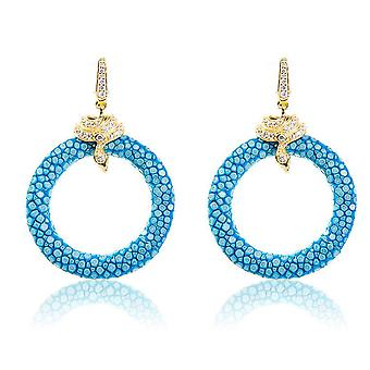 925 Sterling Silver Hoop Drop Earring Stingray Gold Blue Ocean Post Hinge