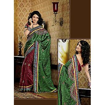 Chhavi grün Faux Crepe Luxus Party tragen Sari saree