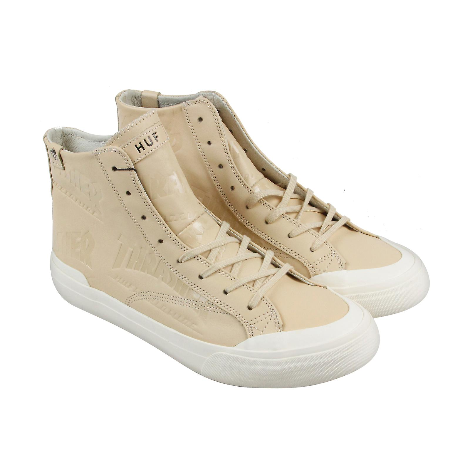 HUF X Thrasher Classic Ciao Top alta in pelle Mens Tan Lace Up scarpe da ginnastica