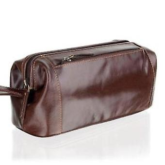 Woodland Leathers Chestnut Brown Stay Open Washbag