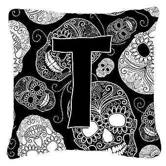 Letter T Day of the Dead Skulls Black Canvas Fabric Decorative Pillow