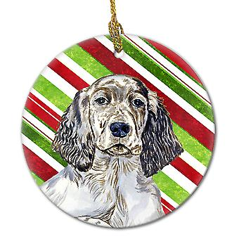 English Setter Candy Cane Holiday Christmas Ceramic Ornament LH9232