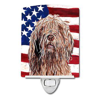 Otterhound with American Flag USA Ceramic Night Light