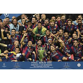 Fc Barcelona Champions Equipment Poster Poster Print