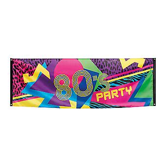 Bright Coloured Large 220x74cm Polyester Banner 80's Party Decoration Accessory