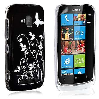 Yousave Accessories Nokia Lumia 610 Butterfly IMD Hard Case - Black