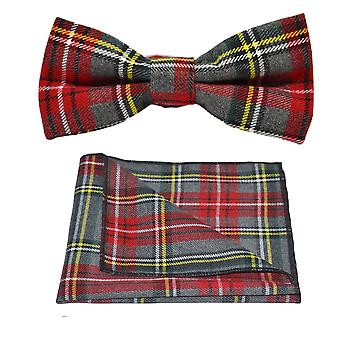 Traditional Light Grey & Red Tartan Bow Tie & Pocket Square Set, Check, Plaid