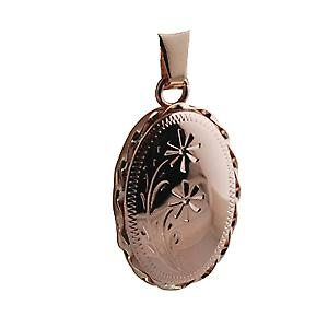 9ct Rose Gold 23x16mm engraved flower design twisted wire edge oval Locket