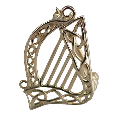 9ct Gold 26x20mm Harp Brooch