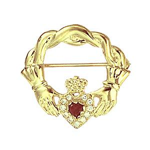 9ct Gold 28x30mm Claddagh twisted cord top Brooch set with Garnet and CZ