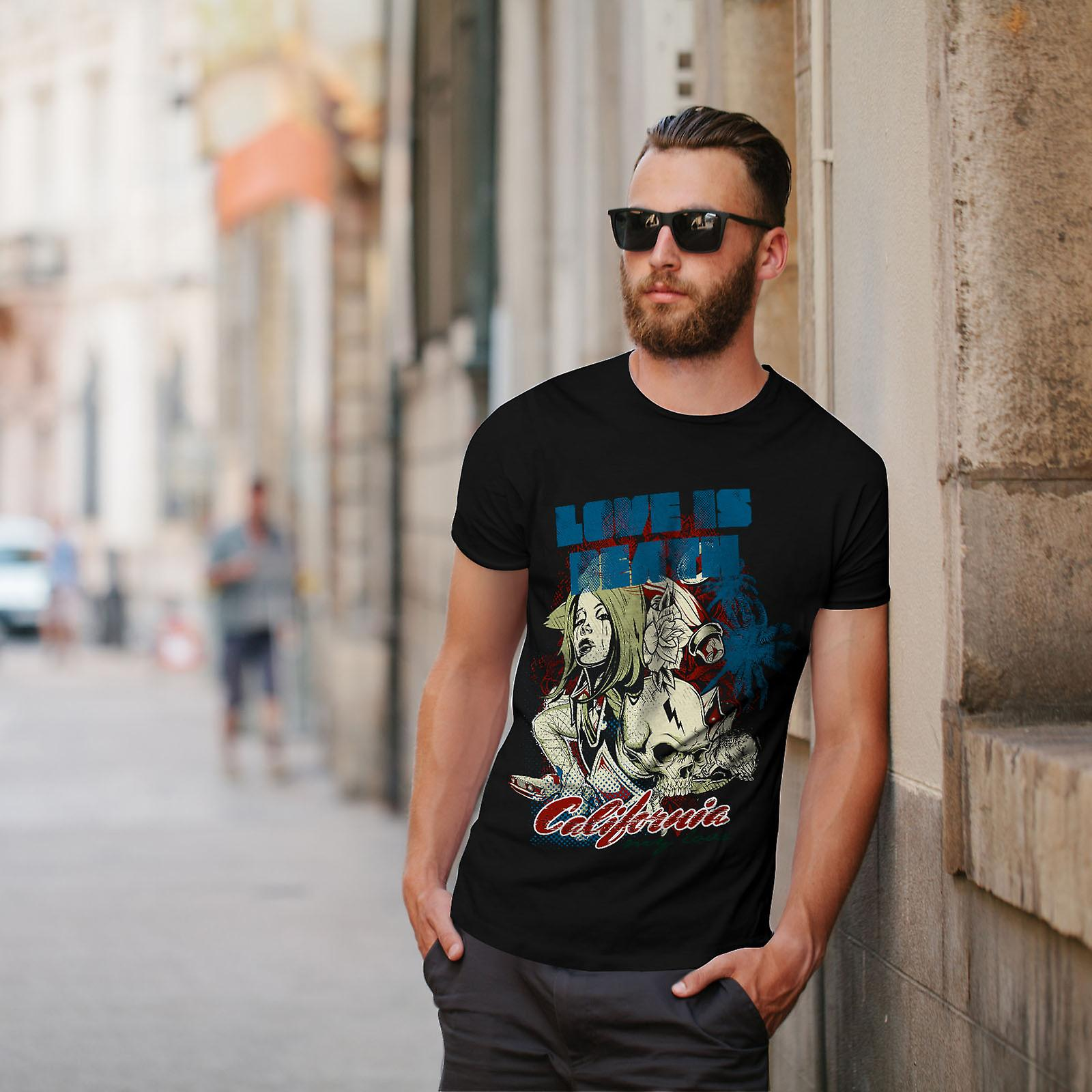 El amor es muerte California hombres negro camiseta | Wellcoda