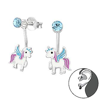 Unicorn - 925 Sterling Silver Crystal Ear Studs - W33748x