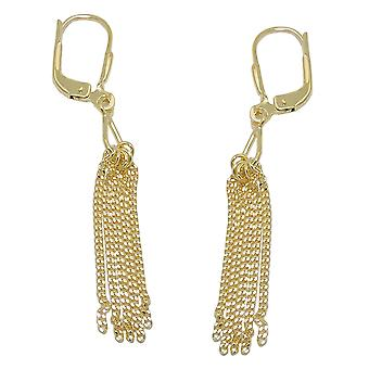 Earrings leverback 5 chains 8k gold