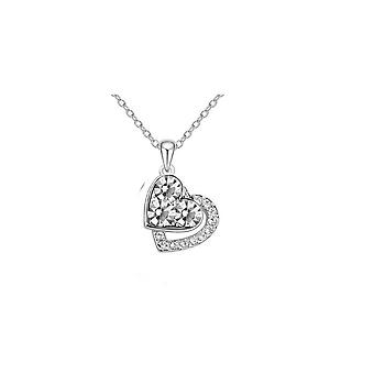 Diamante Silver Jewellery Hearts Necklace