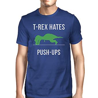 T-Rex Push Ups Mens Royal Blue Short Sleeve Cotton Made Tee