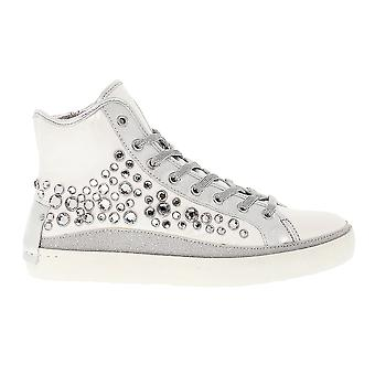 Crime London women's 25345KS110 silver/white leather Hi Top sneakers