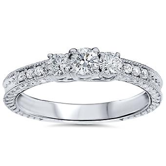 1 / 2ct Vintage drie steen ronde Diamond Engagement Ring 14K White Gold