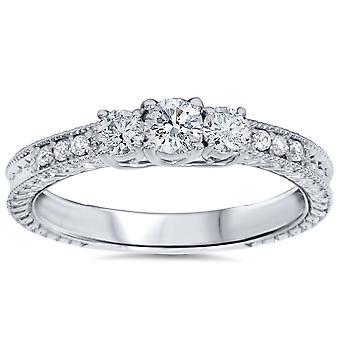 1/2ct Vintage Three Stone Round Diamond Engagement Ring 14K White Gold