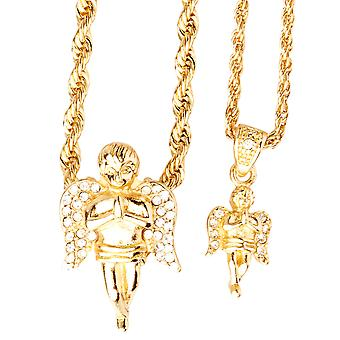 Iced out bling mini ketting hanger set - 2 x Angel goud