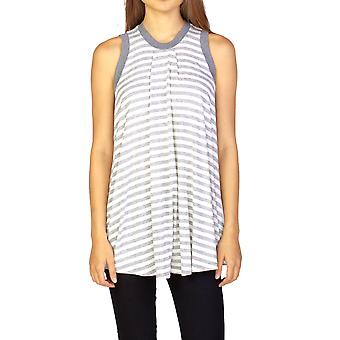 Miu Miu Women's Viscose Sleeveless Striped Blouse Shirt Grey
