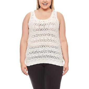 Knitted top women's plus size white Laura Scott