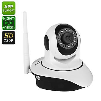 Indoor HD IP Camera - 1/4-Inch CMOS, 720p, 10m Night Vision, Motion Detection, PTZ, App Support, WiFi Wireless, Two Way Audio
