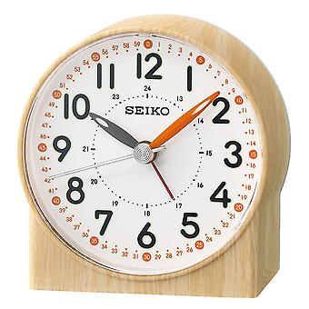 Seiko Orange Lumibrite Alarm Clock with Wood Pattern Case Brown (QHE168Y)
