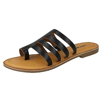 Ladies Leather Collection Flat Strappy Sandals F00125 - Black Leather - UK Size 4 - EU Size 37 - US Size 6
