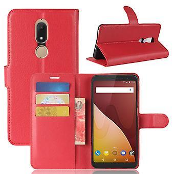 Tasche Wallet Premium Rot für Wiko View Prime Schutz Hülle Case Cover Etui Neu