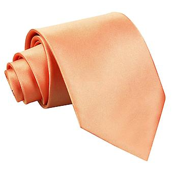 Coral Plain Satin Extra Long Tie