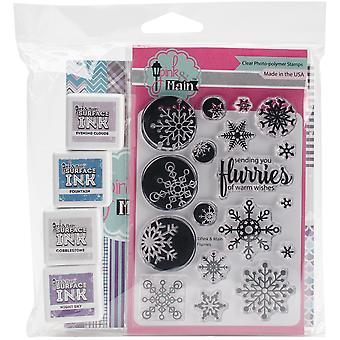 Pink & Main Paper, Stamp And Ink Kit-Frosty Flurries