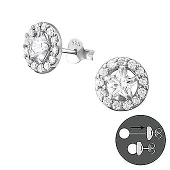 Star - 925 Sterling Silver Ear Jackets & Double Earrings - W37763x