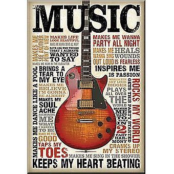 Music Quotes (Les Paul) Steel Fridge Magnet