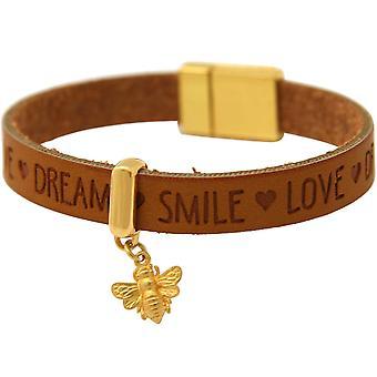 Bracelet Gemshine BEE Bee Argent Doré WISHES Brown Magnetic Clasp