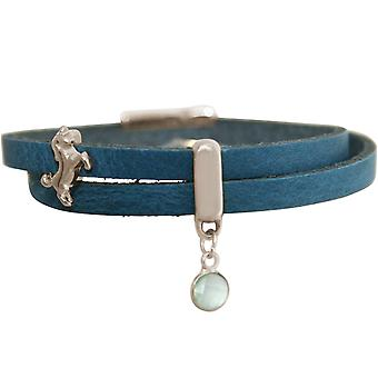 GEMSHINE blue leather wrap bracelet with Einhorn and chalcedony gemstone. Girls gift gold plated rose or silver in a fine case. Made in Munich, Germany