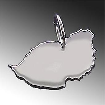 Trailer map MAURITIUS pendant in solid 925 Silver