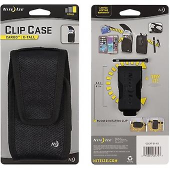 NITE IZE NYLON VERTICAL BLACK CLIP CASE CARGO POUCH WITH CLOSURE X-TALL